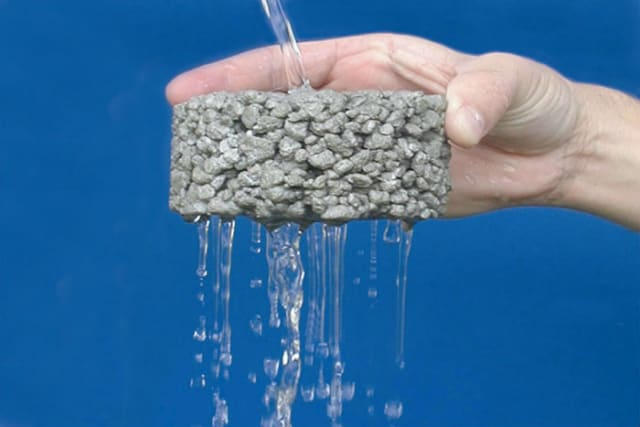 Pervious concrete allows water to run through it to replenish groundwater sources and reduce runoff. (Image courtesy of the National Ready Mixed Concrete Association.)