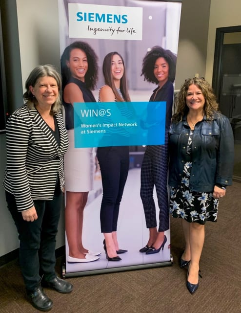 Women Network. Brenda Discher, right, with Mary Kay Petersen kicking off a Siemens Women's Mentoring/Networking session as part of the WIN@S. (Women's Impact Network at Siemens.)