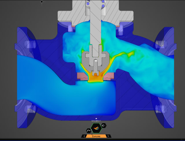 Real-time simulation of fluid flow in a valve with Discovery. (Image courtesy of ANSYS.)