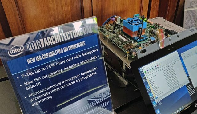 Intel's Sunny Cove test platform on display at the company's Architecture Day last week. (Image courtesy of David Altavilla, Forbes.)