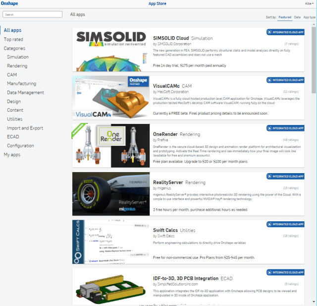 Landing page of the Onshape App Store. (Image courtesy of Onshape).