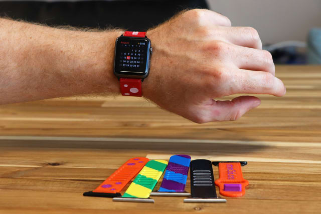 Watchbands for Apple Watch printed in rigid and flexible materials using Palette 2. (Image courtesy of Mosaic Manufacturing.)