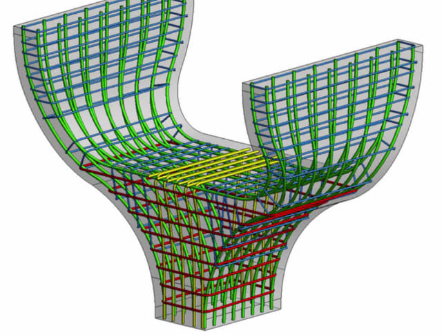 Revit 2018 allows the insertion of rebar in more complex concrete shapes. (Image courtesy of Autodesk.)