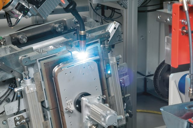 A battery pack assembly being manufactured at Manz AG. (Image courtesy of Manz AG)