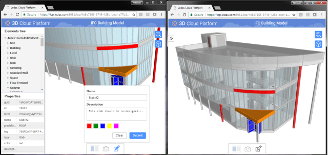 LCP users simultaneously accessing and marking up the same IFC file of a 3D building. (Image courtesy of LEDAS.)