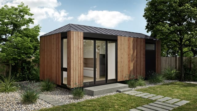 LivingHomes' new modular housing unit, the LivingHome AD1, is chiefly meant as a granny flat, or an apartment to be built on the property of an existing house. (Image courtesy of LivingHomes.)