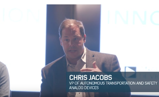 Chris Jacobs, vice president of Autonomous Transportation and Safety at Analog Devices Inc. speaking during the panel late last year. (Credit: Analog Devices, Inc.)