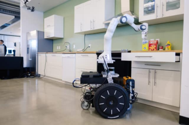 The robot kitchen is being developed to complete tasks like cooking a meal and cleaning. (Image courtesy of NVIDIA.)