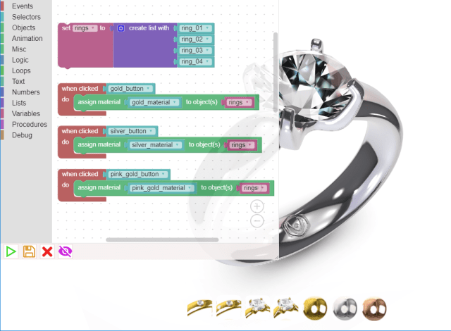 The diamond ring example shown alongside its corresponding Puzzles code. (Image courtesy of Soft8Soft.)