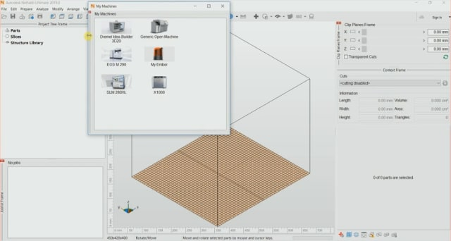 The new My Machines workspace in Netfabb 2019. (Image courtesy of Autodesk.)