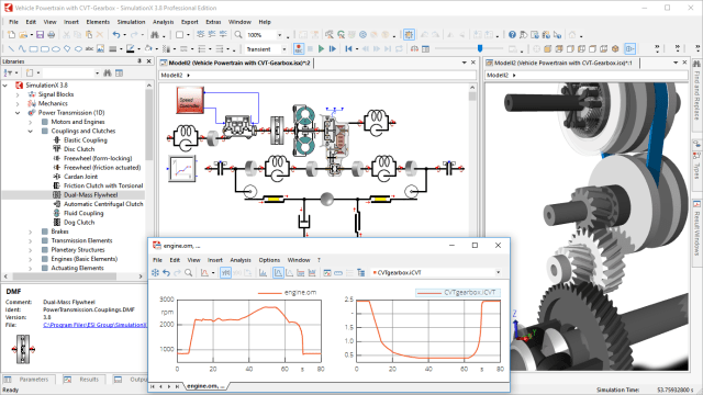 Figure 2. Simulation of a CVT powertrain in SimulationX graphical user interface including result diagrams (time-dependent). (Image courtesy of ESI Group.)