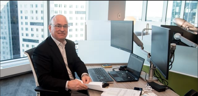 Jim Heppelmann, CEO of PTC, in happier times (before COVID) at his office in the new PTC HQ in Boston Seaport. (Picture courtesy of PTC.)