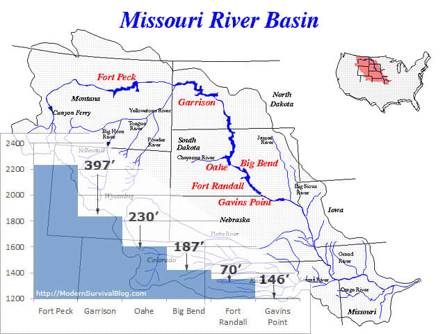 The Missouri River Basin, with the six major dams labeled in red. The Niobrara River (too small to be pictured) feeds into the Missouri right above Gavins Point.