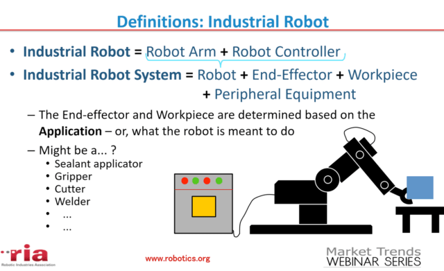 Illustration of a robot and robot system as they are defined in the RIA standards. Not shown is a robot cell, which refers to the workspace and physical safeguards around a fixed robot. (Image courtesy of RIA and Clarissa Carvalho, Robot Safety Webinar.)