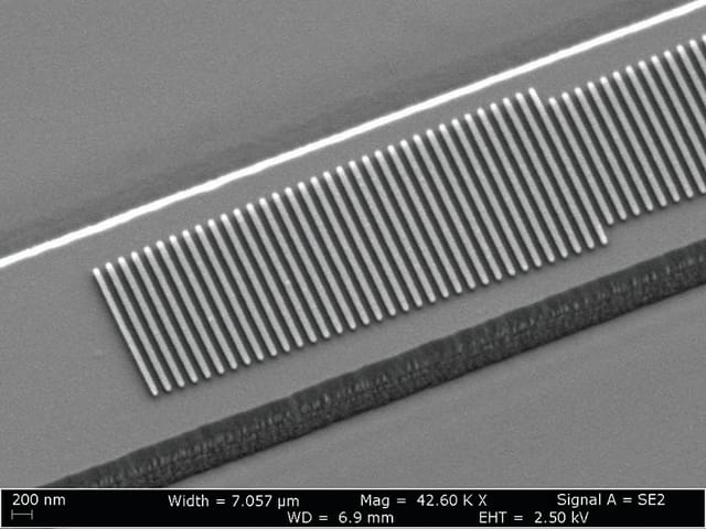 Scanning electron microscope (SEM) image of the fabricated device. (Image courtesy of Loncar Lab/Harvard SEAS.)