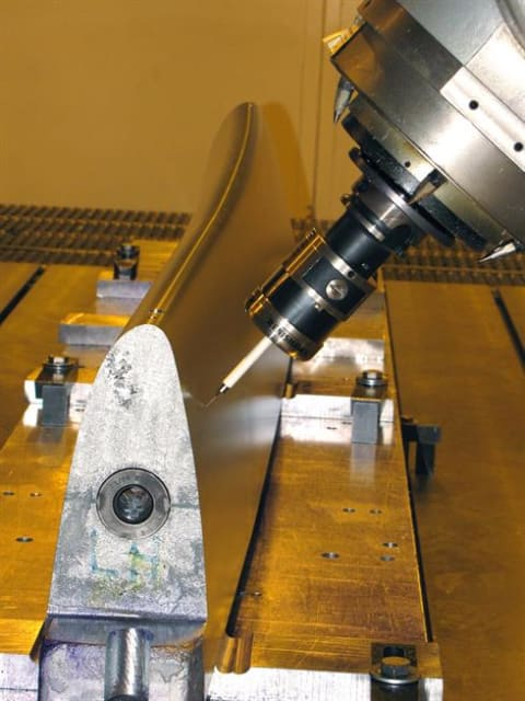 """The 5-axis coordinate measuring machine shown above can measure the true diameter of holes down to 0.098"""" using a 1mm stylus. The Altera CMM SCANtek 5 can inspect fine bores down to 5mm. (Image courtesy of Triumph Fabrications and Renishaw.)"""