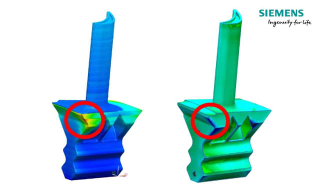 Figure 2. This image shows concurrence between the predicted distortion from a print (on the left) and a deviation comparison between the original CAD model and a 3D scan of the actual printed blade (on the right). (Image courtesy of Siemens.)
