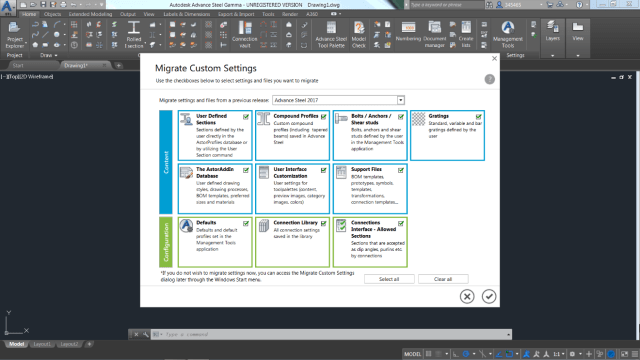 Figure 2 -Advance Steel now has one interface to move settings from one version to another. Picture from Autodesk.