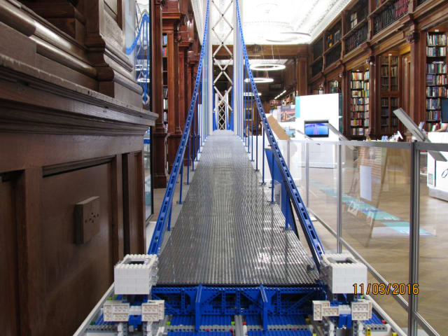 The world's longest LEGO bridge, on exhibit at ICE UK.