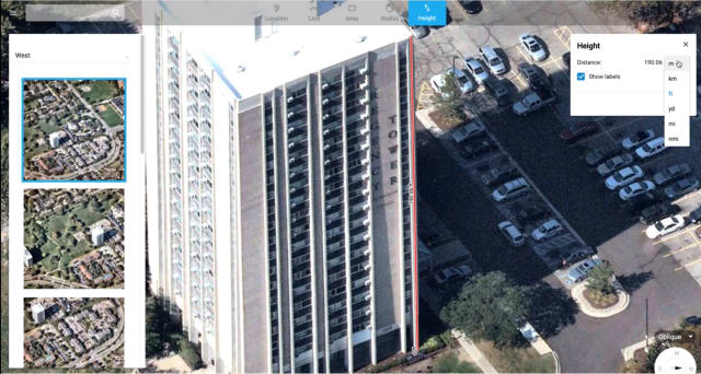 Measuring building height with Nearmap Oblique (Image courtesy of Nearmap)