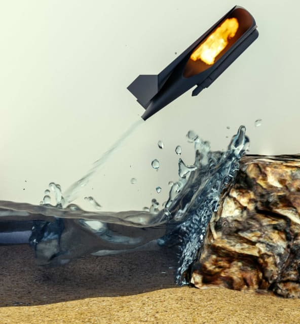 This illustration shows the combustion inside the robot propelling it out of the water. (Image courtesy of Imperial College London.)