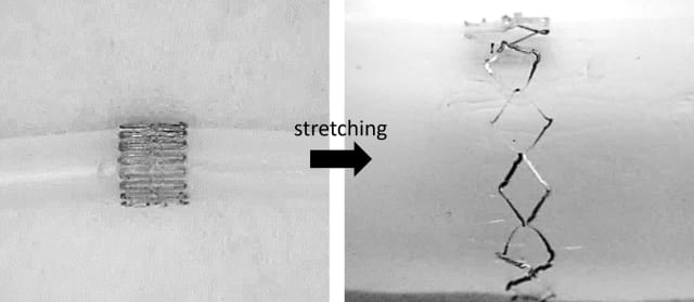 Stretchable blood flow sensor. (Image courtesy of Georgia Tech Photo.)