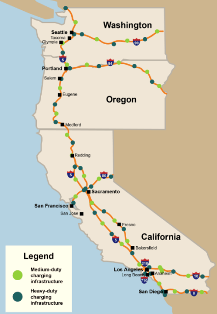 Proposed charging infrastructure. (Image courtesy of the West Coast Clean Transit Corridor Initiative.)