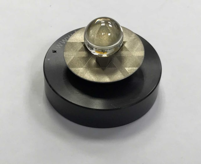 Figure 3: NPL uses spherical targets produced from a special glass with a refractive index of two. These are capable of retro reflection—reflecting light directly back to its origin and from any direction.