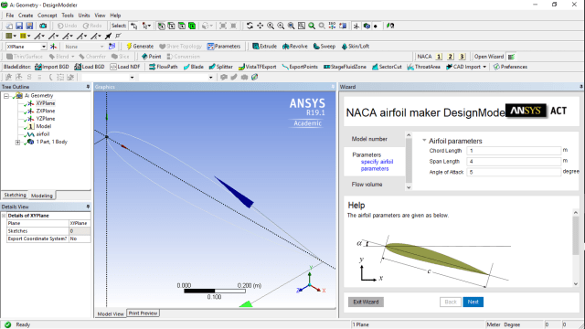 Figure 2. NACA airfoil wizard in DesignModeler. (Image courtesy of ANSYS.)