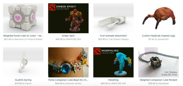 Valve-inspired merchandise, 3D printed by Shapeways. (Image courtesy of Shapeways.)