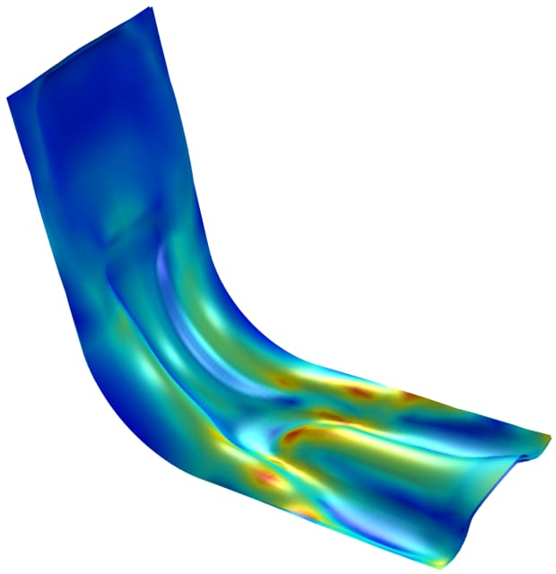 Shape optimization of a sheet metal bracket in COMSOL Multiphysics 5.5's Optimization Module. (Image courtesy of COMSOL.)