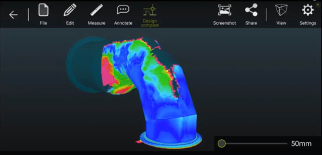 The two pipe models aligned. Color-coding shows the areas of greatest difference between the pointcloud and the CAD models. (Image courtesy of DotProduct.)