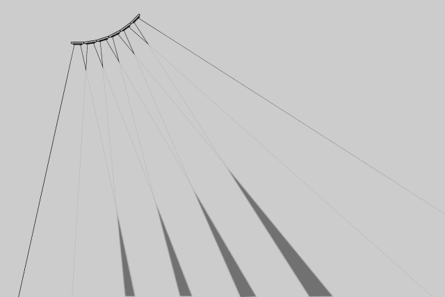 A representation of how the sensors overlap to create the air guitar strings.