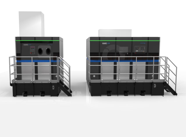 The GE Additive Concept Laser M Line Factory system, with Material Handling Station on the left and Laser Processing Station on the right. (Image courtesy of GE additive.)