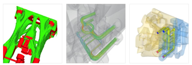 Topology optimization was performed in HyperWorks, with material added only where necessary for the required stiffness and strength. The use of conformal tempering reduces thermal deformation, resulting in shortened cycle times and improved component quality. These cooling channels can be directly 3D printed into the design. (Images courtesy of Altair.)