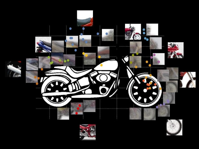 Photo snippets of a motorcycle used by the computer vision system.  (Image courtesy of the UCLA Samueli School of Engineering.)
