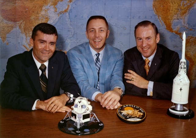 Apollo 13 astronauts James Lovell Jr., Fred Haise Jr. and John Swigert Jr. (Image courtesy of NASA.)