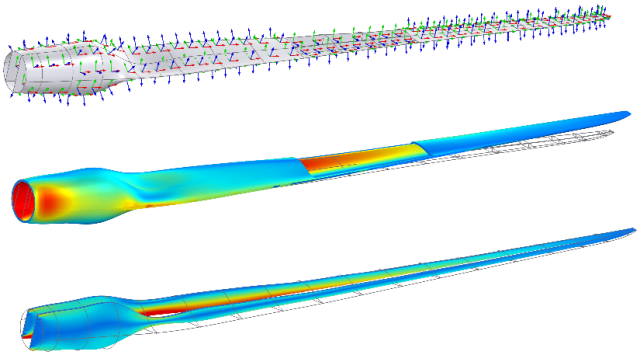 A wind turbine blade analyzed with the Composite Materials Module. From top to bottom: Visualization of the shell local coordinate system and von Mises stress in skin and spars respectively. (Image courtesy of COMSOL.)