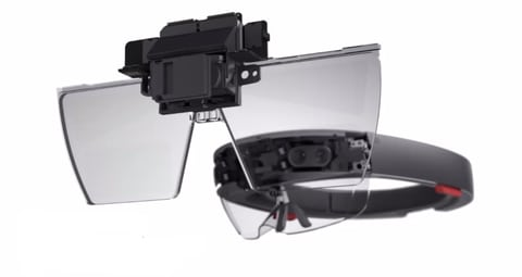 Microsoft HoloLens uses an LCoS screen for display, which functions similarly to a DLP projector. The HoloLens set the tone for inside-out pose tracking when it first hit the market in 2015. (Image courtesy of Microsoft.)