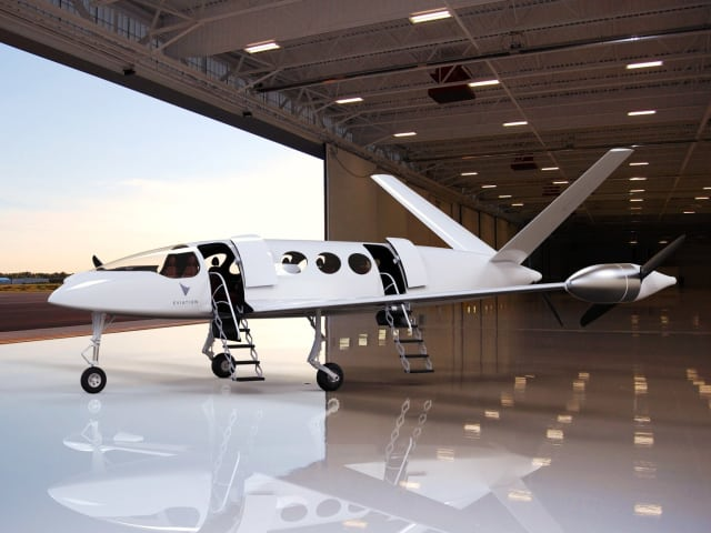 Figure 2. Carrying up to nine passengers is Eviation's Alice Commuter, which made its debut (on the ground) at the Paris Air Show in June. Alice is powered by two wingtip propellers and one more (barely visible) on its tail. (Picture courtesy of Eviation)