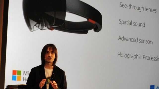 Alex Kipman, creator of Microsoft HoloLens, announcing its arrival at BUILD Developer Conference 2015. (Image courtesy of Silicon Angle.)