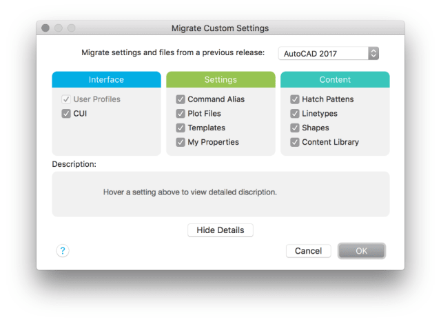 AutoCAD for Mac 2018 users can import a variety of custom settings from previous versions. (Image courtesy of Autodesk.)