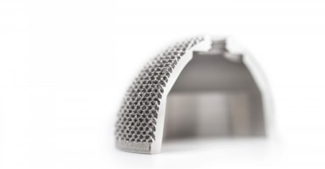 LimaCorporate's 3D-printed hip cup with trabecular design for improved bone growth. (Image courtesy of LimaCorporate.)