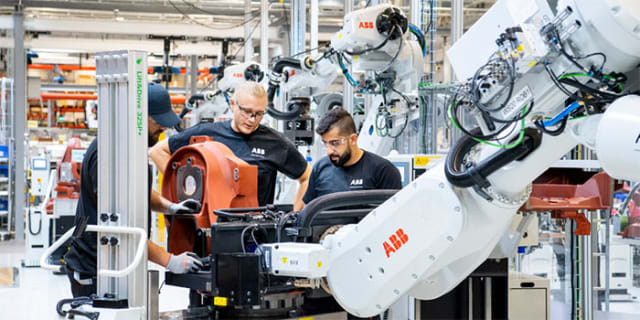A strong automation portfolio. ABB is strong both in factory automation solutions and robotics. According to Statistas 2017 numbers , the Swedish-Swiss company holds second place in terms of market share in these areas with 13 percent, trailing Siemens. (Image courtesy of ABB.)