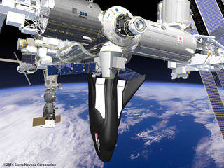 Depiction of the Dream Chaser docked to the ISS. (Image courtesy of Sierra Nevada Corporation.)