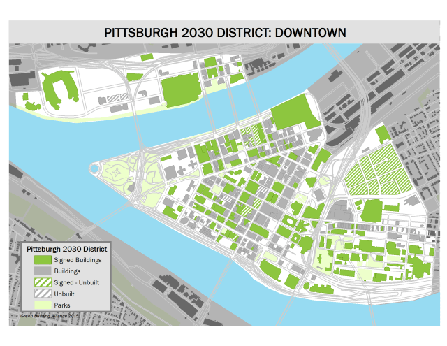 A map of 2030 District buildings in downtown Pittsburgh. (Image courtesy of 350 Pittsburgh.)