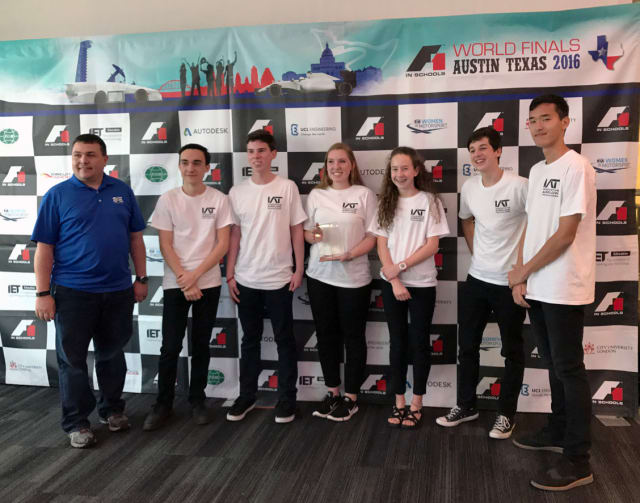 The DSHS 'F1 in schools' team competing at the World Finals 2016. (Image courtesy of DSHS.)