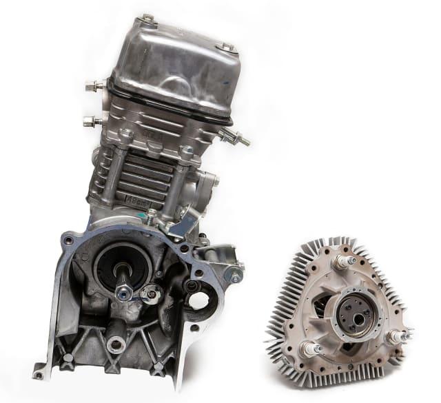 Mighty mite. LiquidPiston's 70cc X Mini engine on the right compared to a 49cc Honda Metropolitan moped engine on the left (Picture courtesy of LiquidPiston.)