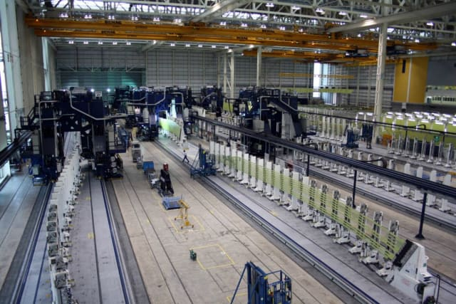 Automated drilling and filling of Airbus A380 wing panels.(Image courtesy of Electro Impact.)