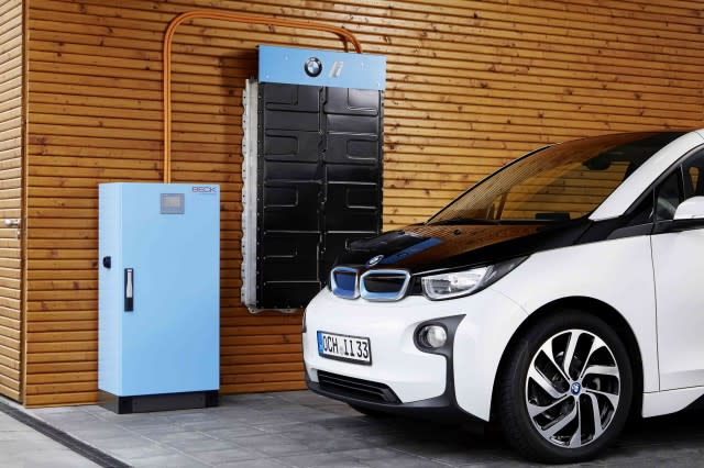 Degraded battery from a BMW i3 used as energy storage. (Image courtesy of BMW.)